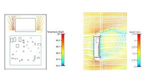 自然对流产生的粒子流在电池周围积聚热空气